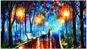 Tranh sơn dầu trừu tượng vẽ cặp tinh nhân trong công viên