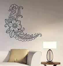 Amazon Com Henna Paisley Flower Wall Decal Mehndi Floral Pattern Vinyl Sticker Indian Ornament Art Hindu Decorations For Home Kitchen Dining