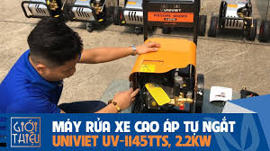 Giới thiệu máy rửa xe cao áp chạy điện 1 pha UNIVIET UV-1145TTS, Áp lực 80  Bar, 2.2Kw, tự ngắt motor - YouTube