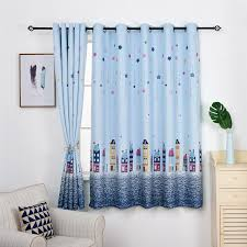 New Blue Star Castle Printed Short Curtains For Children Room European Style Window Drapes For Living Room Kids Bedroom Curtains Aliexpress