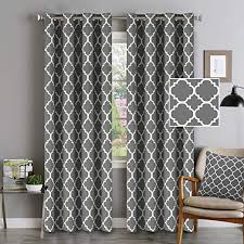 Amazon Com Blackout Curtains Energy Smart Noise Blocking Out Blackout Drapes For Dining Room Window Kids Curtains 96 Inches Long For Kids Bedroom Moroccan Printed In Mild Gray Set Of 2