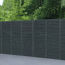 Forest Garden Grey Contemporary Double Slatted Fence Panel 6 X 6
