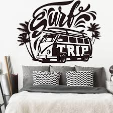 Vehicle Palm Tree Summer Beach Wall Sticker Large Surf Trip Hippie Car Wall Decal Bedroom Kids Room Surfing Car Vinyl Art Ly1872 Wall Stickers Aliexpress