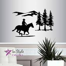 In Style Decals Wall Vinyl Decal Home Decor Art Sticker Cowboy Riding Horse Mountains Western Boy Man Removable Stylish Mural Unique Design For Any Room 217 Amazon Com