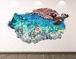 Amazon Com West Mountain Turtle Wall Decal Art Decor 3d Smashed Ocean Animal Sticker Poster Kids Room Mural Custom Gift Bl292 22 W X 14 H Home Kitchen