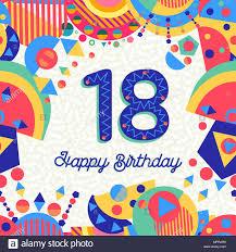 Feliz Cumpleanos 18 18 Anos De Diseno Divertido Con Numero Texto