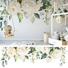 Ivory Rose Garden Floral Wall Decal Mural Blooms Wall Mural Etsy In 2020 Floral Wall Decals Wall Murals Floral Wall