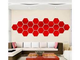 12pcs 3d Large Size Hexagonal Mirror Diy Acrylic Wall Clock Stickers Red Newegg Com