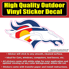 Denver Broncos Colorado Flag White Line Vinyl Car Window Laptop Bumper Colorado Sticker