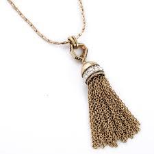 tassel necklace gold tone pendant