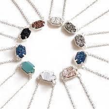 silver plated druzy hexagon pendant
