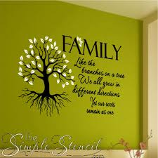 family branches roots leaves tree vinyl wall decal and quote