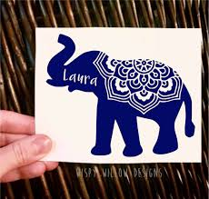 Personalized Name Elephant Mandala Vinyl Decal Mandala Flower Name Decal Name Sticker Name Yeti Elephant Mandala Boho D Vinyl Decals Name Stickers Vinyl