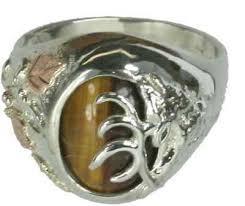 sterling silver elk tigers eye ring