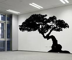 Amazon Com Stickerbrand Nature Asian Decor Vinyl Bonsai Tree Wall Decal Sticker Ac228m 48 X 73 Black Easy To Apply Removable Home Kitchen