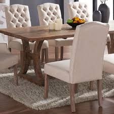 Shop Lucian Set Of 2 Linen Button Tufted Dining Chairs On Sale Overstock 12298569 Beige