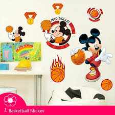 Cartoon Lovely Mickey Minnie Mouse Basketball Wall Stickers Decals Kids Room Baby Bedroom Wall Art Park Poster Nursery Amusement Wall Stickers Aliexpress