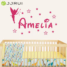Jjrui Personalized Name Customer Fairy Girl Angel Wing Princess Star Home Wall Stickers Decal Vinyl For Kids Rooms Vinyl Name Name Wall Stickerswall Sticker Aliexpress