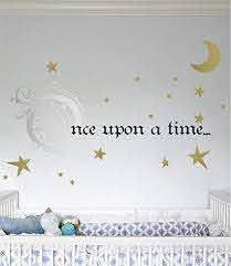 Amazon Com Once Upon A Time Story Book Quote Vinyl Wall Decal Removeable Baby Girl Nursery Fairy Tale Design Sticker Silver Golc Black 9x22 Inches Home Kitchen