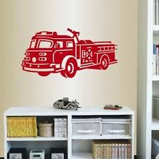 Vinyl Decal Fire Truck Firefighter Fireman Car Kids Boys Room Wall Sticker 2076 Ebay