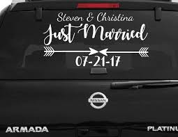 Arrow Just Married Car Decal Wedding Car Vinyl Sticker With Your Names Date Wedding Car Window Decorations Vehicle Decals B110 Wall Stickers Aliexpress