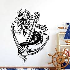 Sexy Mermaid Girl Lady Anchor Wall Sticker Car Boat Truck Mermaid Anchor Ocean Sea Wall Decal Bedroom Vinyl Home Decor Wall Stickers Aliexpress