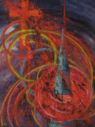 IDA STONE JONES Original Painting 17x23 Cross Abstract | #158992330
