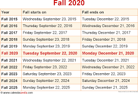 When is Fall 2020?