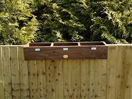 Rustic Over The Fence Hanging Balcony Wooden Window Box Herb Planter 90 Cm Houses 3 Plants Brown Amazon Co Uk Garden Outdoors