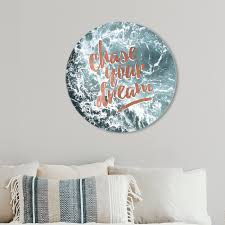 Shop Oliver Gal Chase Your Dream Circle Typography And Quotes Round Circle Acrylic Wall Art Bronze Gray Overstock 28866647