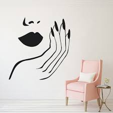Lips And Nails Wall Decal Beauty Salon Decor Women Make Up Style Wall Sticker Removable Vinyl Beauty Hands Wall Mural Sale Up To 70 Stickersmegastore Com