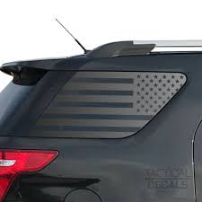 Usa Flag Decal For 2011 2019 Ford Explorer 3rd Windows Matte Black Tactical Decals