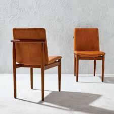 framework leather dining chair saddle