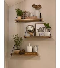 wood wall shelf with hanging wire