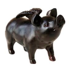 saideke retro resin black angel pig