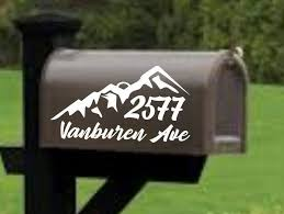 Mountain Mailbox Decal Address Decal Mailbox Numbers Mailbox Stickers Mailbox Lettering Mailbox Design With Trees