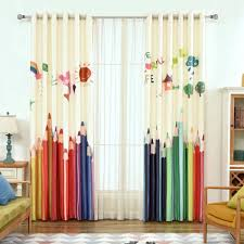 Colored Pencil Room Darkening Drapes White Grommet Panel For Kids Room Pink Blue Yellow Red Green W84 X L63 2 Piece