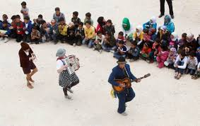 Members of Clowns Without Borders entertain Syrian refugee children in Jab Janine,  West Bekaa