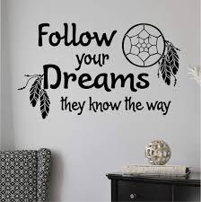Inspirational Wall Decal Follow Your Dreams Dreamcatcher