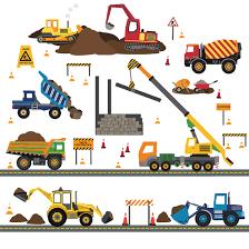 Multicolor Construction Site Decals Plus 4 Construction Truck Wall Dec