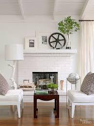 painted brick stone fireplace