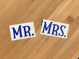 Mr And Mrs Decal Pair 2 Vinyl Decals For Cup Phone Etsy