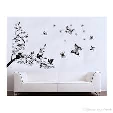 Black Tree Wall Decal Flowers Butterflies Wall Decal Sticker Black Blossom Tree And Flying Butterflies White Flower Wall Sticker Decals Decorative Wall Clings Decorative Wall Decals From Magicforwall 2 02 Dhgate Com