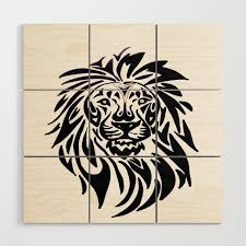 Lion Face Black And White Wood Wall Art By Lennyfdzz Society6