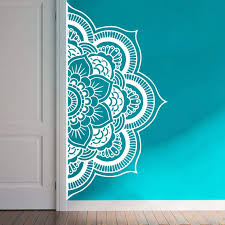 Amazon Com Wall Decal Half Mandala Headboard Wall Sticker Yoga Boho Indian Om Mandala Flower Wall Sticker Art Living Room Interior Bed Decor Sticker Mural Y022 57x109cm White Home Kitchen