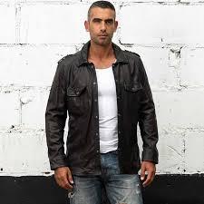 motorcycle leather shirt jacket male