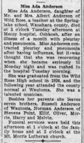 Miss Ada Anderson - died at Mercy hospital, Oshkosh (WI) on ...