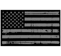 Tattered Usa Flag Black Silver Window Decal