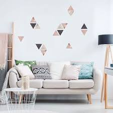 Ws42384 Rose Gold Marble Triangles Wall Stickers By Fun4walls