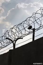Security Camera Behind Barbed Wire Fence Stretched Around Prison Walls Buy This Stock Photo And Explore Similar Images At Adobe Stock Adobe Stock